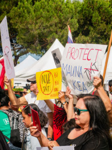 protest signs read: protect mauna kea and aole tmt