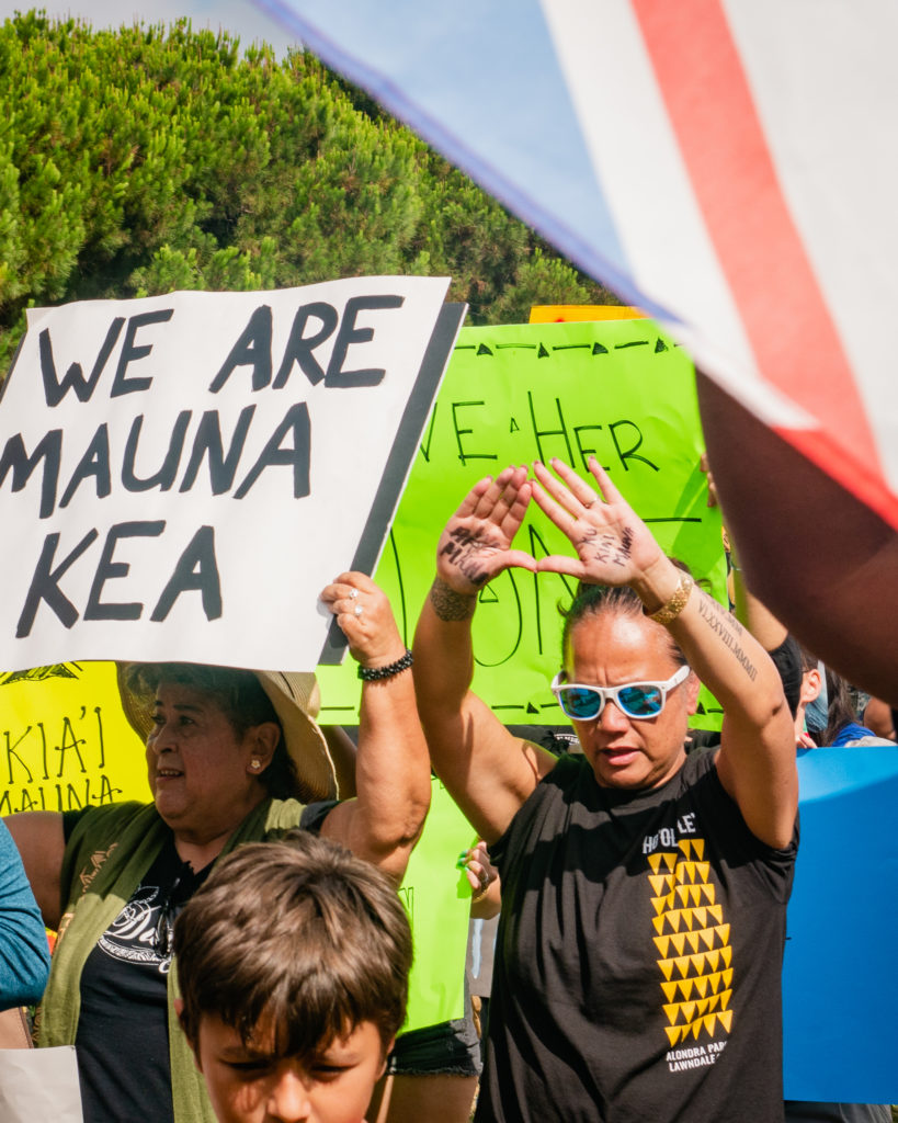 """protestor carrying a sign that reads """"we are mauna kea"""""""